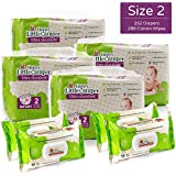 Happy Little Camper Ultra Absorbent Hypoallergenic Natural Diapers, Size 2, 252 Count, Non-GMO Cotton Wipes, 288 Count, Monthly Supply Combo Bulk Pack