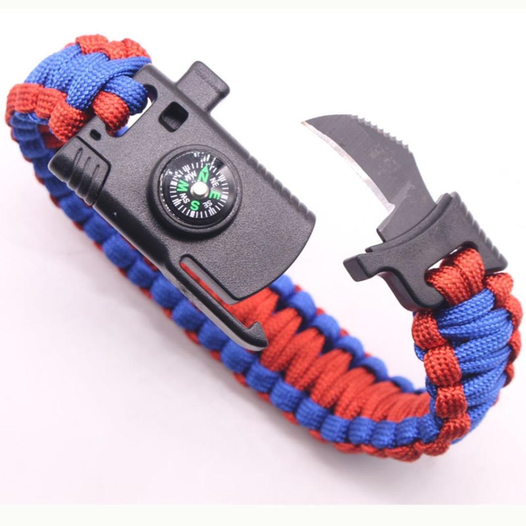 Franterd多機能パラコードアウトドアレスキューロープ緊急ブレスレット – アドベンチャー – Fire starter傘ロープブレスレット – サバイバルギア( A ) B075CG7B3V