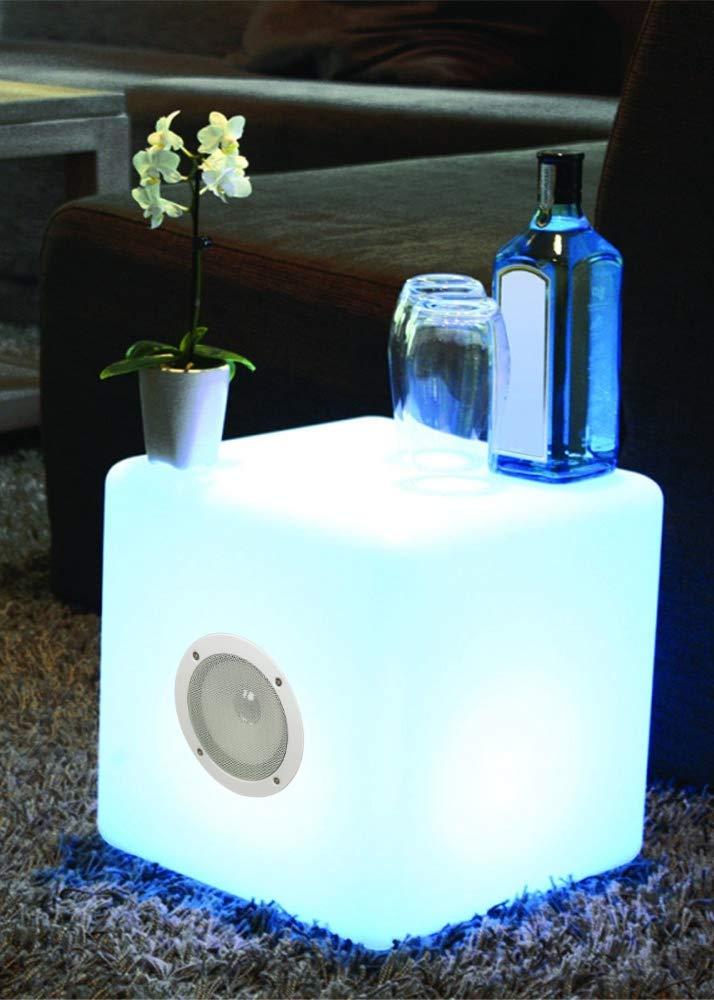 Deco4Me LED W/ürfel 30x30x30 mit Lautsprecher Soundbar Bluetooth Leuchtw/ürfel Garten