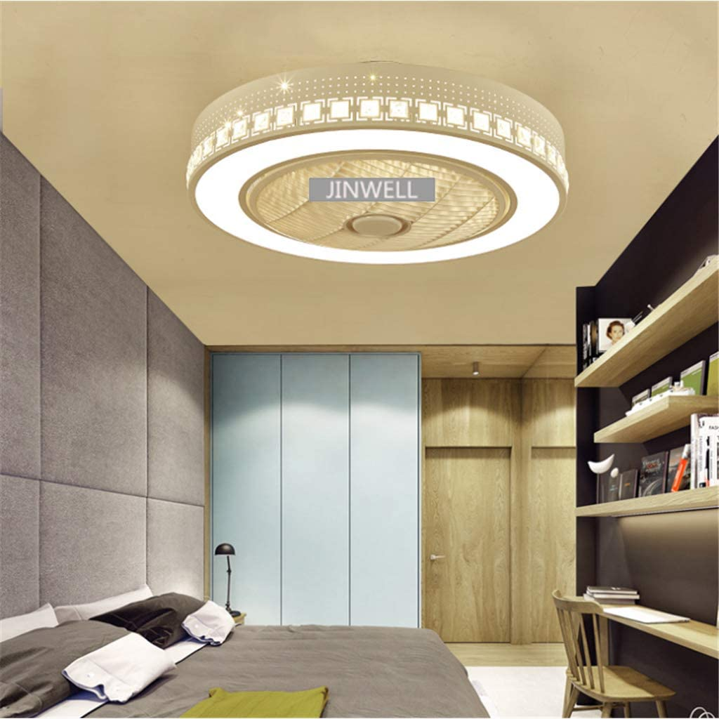 JINWELL Ventilador de techo L/ámpara de techo moderna y creativa Ventilador de techo regulable por LED con iluminaci/ón y remoto Cuarto de ni/ños silencioso Iluminaci/ón de la sala de estar