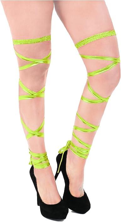 Women Shiny Metallic High Leg Wraps Raves Dancing Club Wear Costumes Stocking