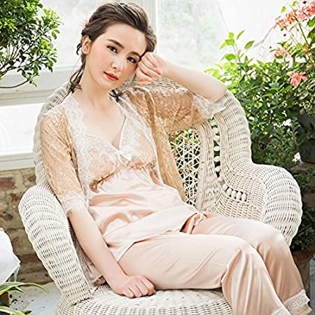 78096693d531 MH-RITA 2017 Summer New Women Pajamas Sets Lady Temperament Lace Artificial  Silk Sling Pajama Suits Women V-Neck Three Pieces Spleepwear Khaki M  ...