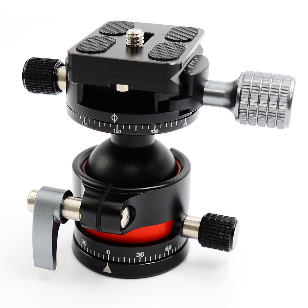 koolehaoda E2 Tripod Ball Head double Panoramic Head with Quick Release Plate For Camera Tripod, Net weight only 280G,Maximum load: 12KG (CNC process, double Panoramic Head E2+H2)