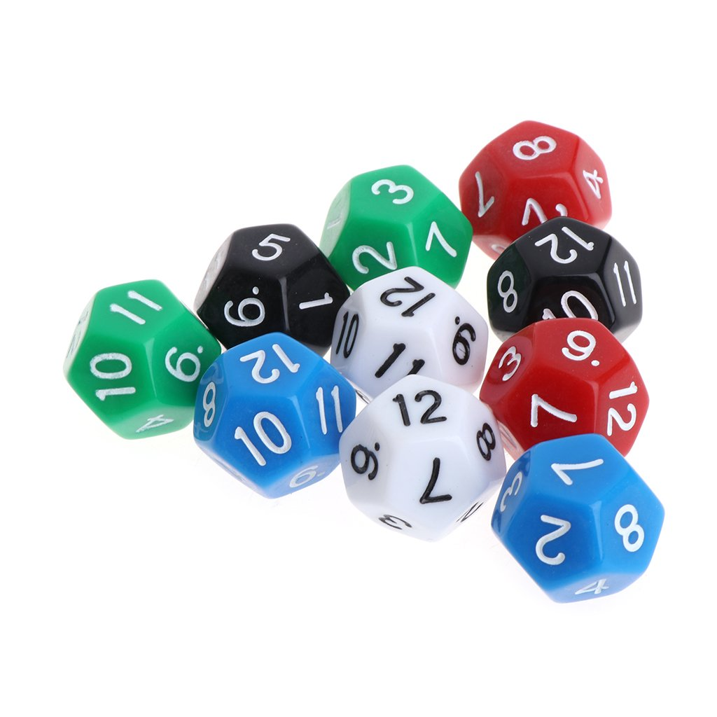 10pcs Multicolor Dungeons /& Game Accessorie Dragons 12 Sided Acrylic Number Dice