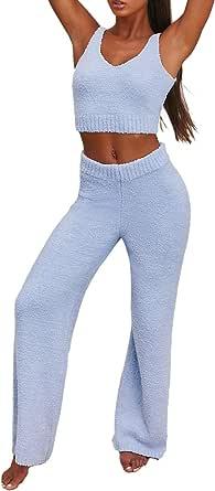 Womens Sexy Fuzzy Warm Sherpa Fleece 2 Piece Outfits Spaghetti Strap Crop Top and High Waist Long Pants Set Loungewear