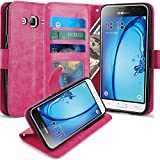 J3 Case, Express Prime Case, Amp Prime Case, LK Luxury PU Leather Wallet Case Flip Cover with Card Slots & Stand For Samsung Galaxy J3 / Express Prime / Amp Prime, HOT PINK