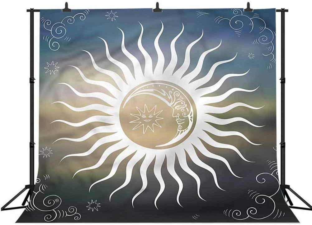 8x8FT Vinyl Photography Backdrop,Sun,Celestial Body Silhouettes Background Newborn Birthday Party Banner Photo Shoot Booth