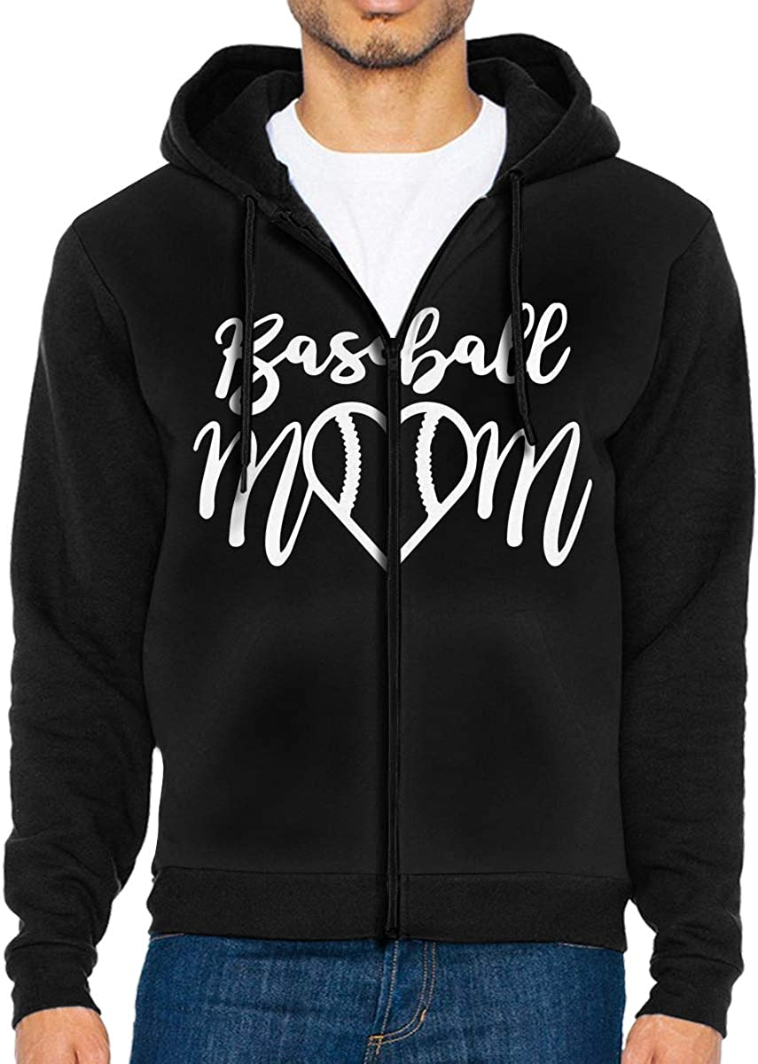 LD6DBGK Baseball Mom Mens Full Zip-Up Hooded Sweatshirts Outwear