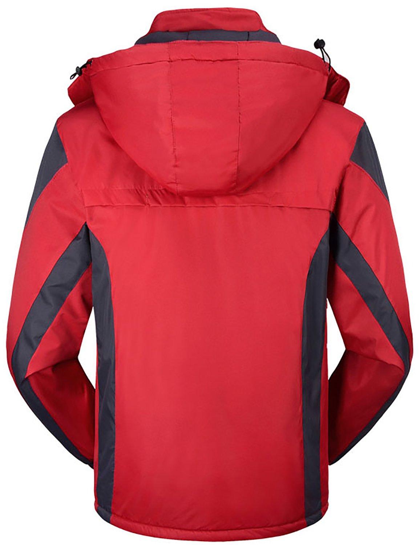 Men's Winter Warm Fleece Lined Ski Coats Outdoor Hooded Waterproof Parka Jacket Black US X-Large / Asian 5XL by HENGJIA (Image #2)