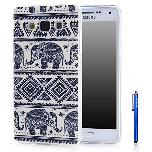 A7 Case,Galaxy A7 Case,Vfunn Premium TPU Gel Scratch Resistant Slim Fit Funny Cartoon Case Cover for Samsung Galaxy A7 with 1 Screen Protector 1 Blue Stylus Pen (A7 TPU Case) (Elephant)