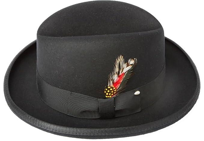 fd0be1b9f25 Amazon.com  New Mens 100% Wool Black Godfather Style Homburg Fedora ...