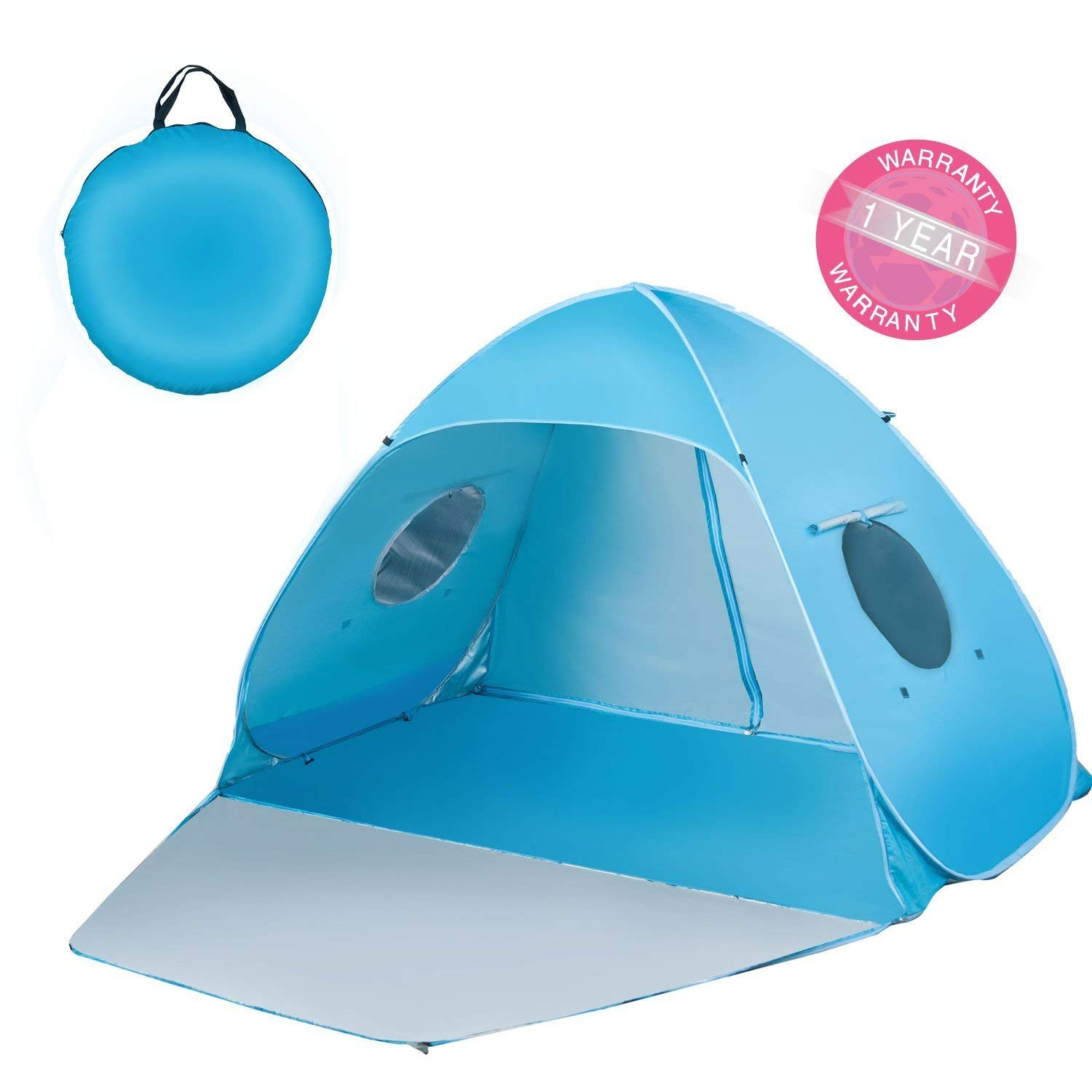 Extra Large Beach Tent Sun Shade Shelter Pop Up Instant Portable Outdoors 3-4 Person Beach Cabana Sets Up in Seconds, Blue, 78.7'' L X 47.2'' W X 51.2'' H by Suhleir