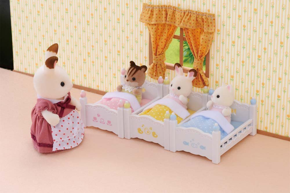 Calico critters triple baby bunk beds kids girls play toy for Baby and kids first furniture