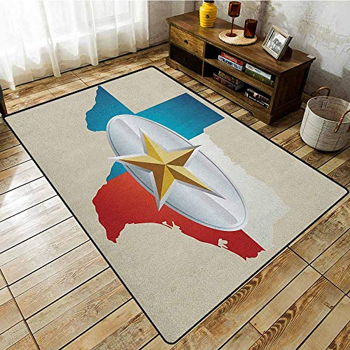 Living Room Area Rug,Texas Star,Cowboy Belt Buckle Star Design with Texas Map Southwestern Parts of America,Anti-Static, Water-Repellent Rugs Multicolor (Reptile Buckle Belt)