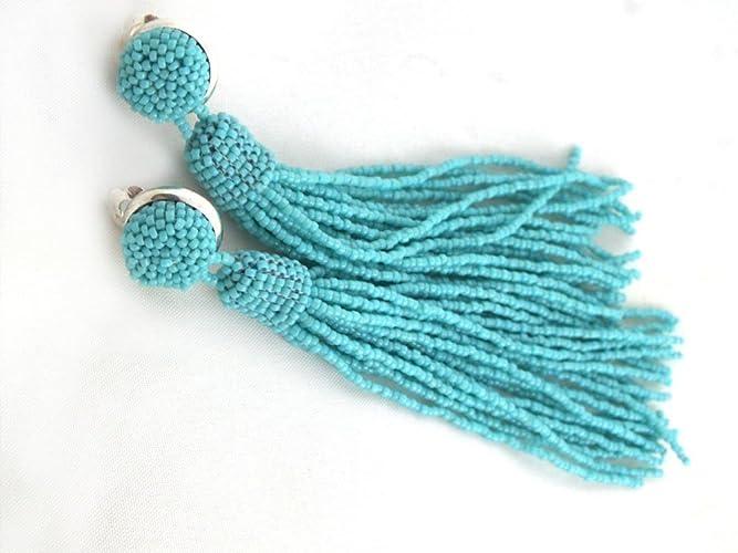 588fa8c01 Amazon.com: Beaded Tassel Earrings Turquoise Long Tassle Clip On Fringe:  Handmade