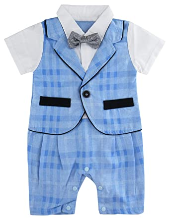 iEFiEL Infant Baby Boys Gentleman Suit Bow Tie Plaids Romper Jumpsuit Wedding Party Formal Outfit Set