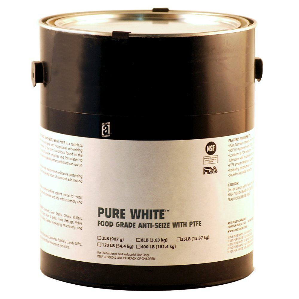 PURE WHITE 31030 Food Grade Anti-Seize Compound with PTFE, 1 Gallons, White, Paste
