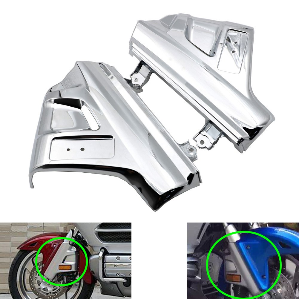 Alpha Rider ABS Chrome Front Suspension Shock Cover Side Fender Lower Fork Shield Fairing Guard for Honda GL Goldwing 1800 GL1800 2001 - 2011