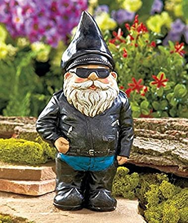 Amazon.com : Biker Garden Gnome Statue By Besti   Outdoor Garden Figurine  In Motorcycle Leather Jacket   Excellent Garden Ornament / Yard Art   Funny  Lawn ...