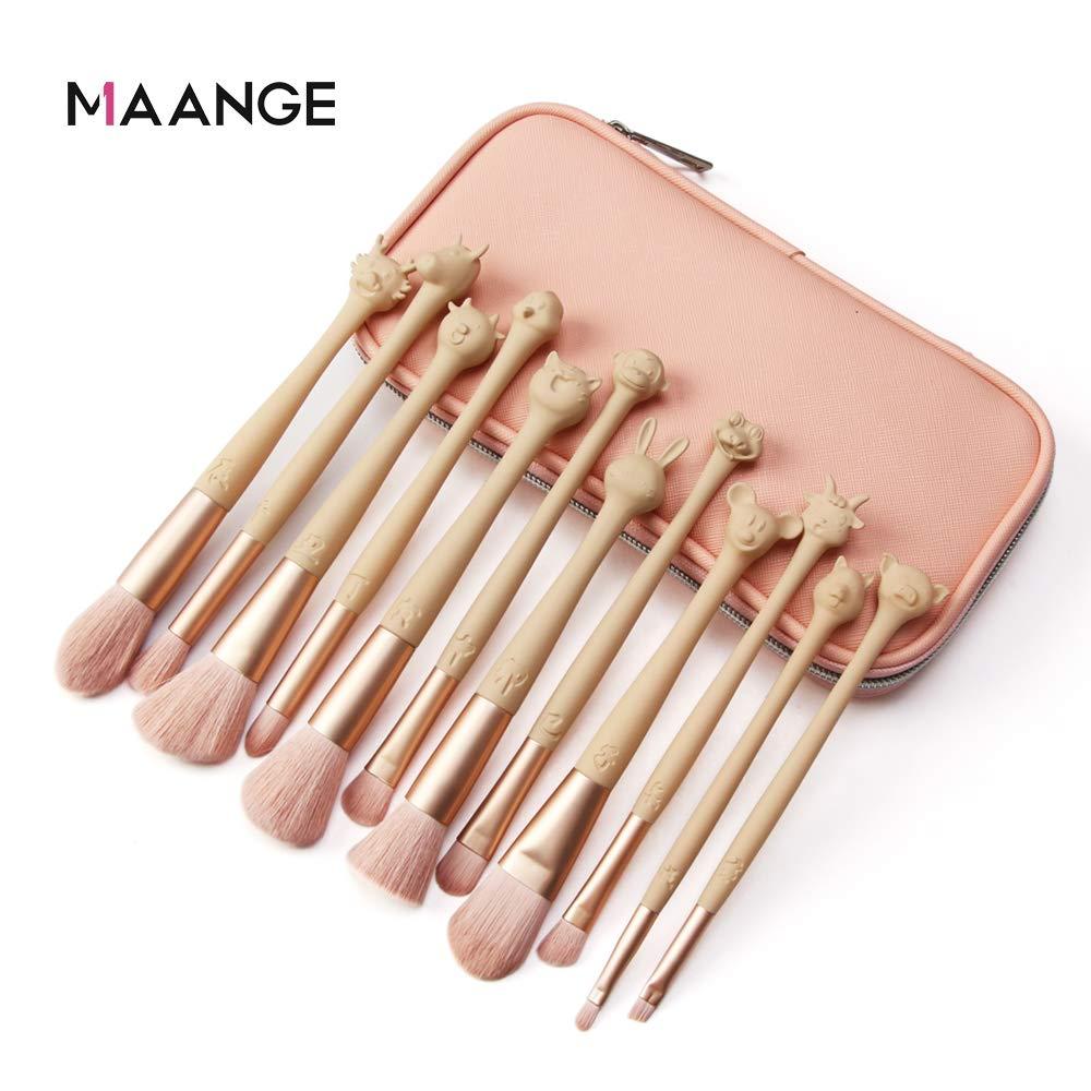 MAANGE Microcrystalline Bristles 12 Zodiac Makeup Brush Set,Premium Cosmetic Makeup Brush Set for Foundation Blending Blush Concealer Eye Shadow,Pink,Included Makeup Bag