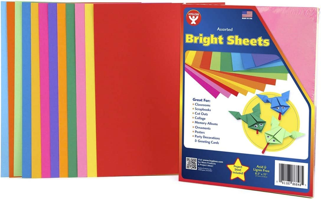 12 Asstd Colors Hygloss Products Bright Paper 96 Sheets 8.5 x 11