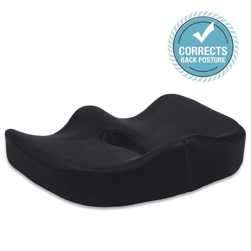 Amazon com black chair cushions - Amazon Com Liba Seat Cushion 5 Memory Foam Supported Comfortable Durable Chair Home Office Car Sciatica Prostate Hemorrhoid Low Back Pain Tailbone Coccyx
