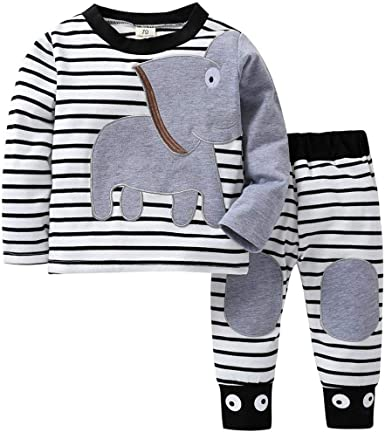 kaiCran Clothing Baby Newborn Boys Girls Long Sleeve Letter Print Hoodie Tops Pants Outfits Clothes Set with Pocket