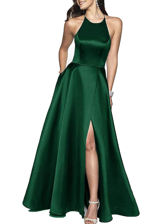 Emerald ZLQQ Womens Halter Beaded Prom Dress Long with Pockets Slit Beach Wedding Evening Gowns