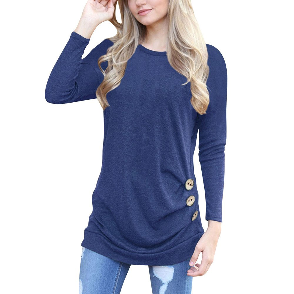 OrchidAmor 2019 New Women Long Sleeve Loose Button Trim Blouse Solid Color Round Neck Tunic T-Shirt