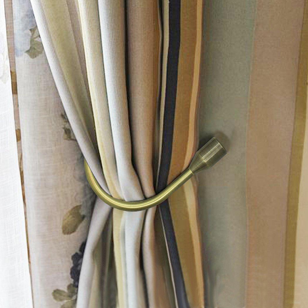 FUNRUI ganci per tende a U Style fermatende in metallo per tenda moderno design fermatenda per Voiles ferma tenda 2confezione Bronze