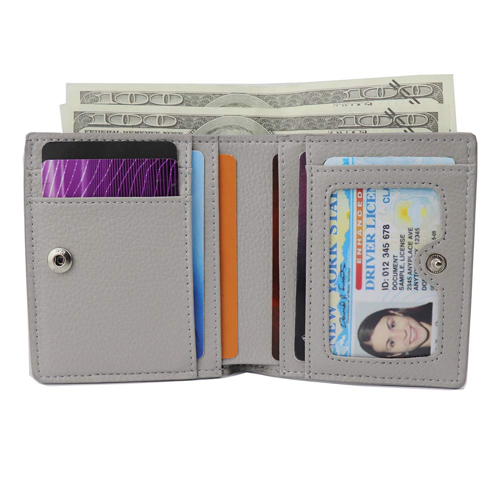 Womens Leather RFID Small Compact Bifold Pocket Wallet Ladies Mini Purse with id Window