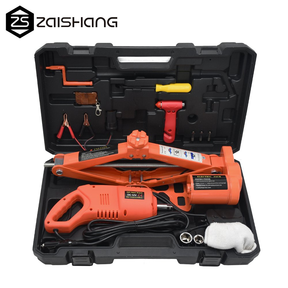 ZS 3Ton (6600lb) Auto Electric Car Scissor Lift Jack with Impact Wrench Tire Repair Tools Kit 12V DC (Orange)