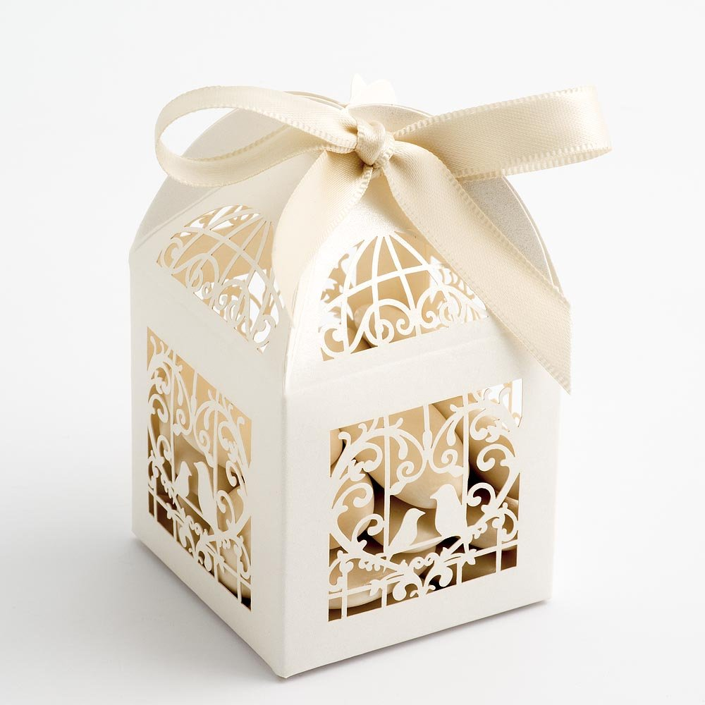 Filigree Bird Cage Favour Box - Pearlised Ivory 50x50x80mm - pack of ...