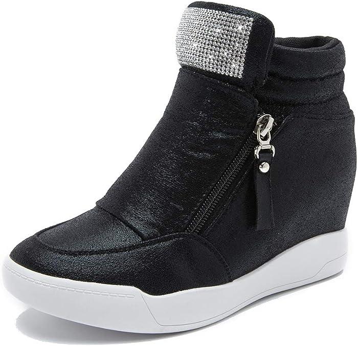 Details about  /Womens Fashion Leather Sequin Platform Hidden Wedge Slipper Sandals Shoes SEIO