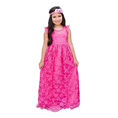 961c0df4a3 Think Pink Bows Baby Girls Raspberry Closed Back Stella Flower Girl Dress 1Y