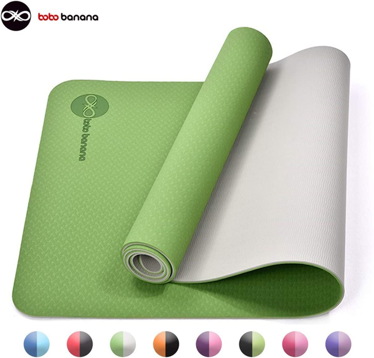 bobo banana Yoga Mat, TPE Non-Slip Fitness Mat Dual Color Exercise Mat for Yoga Gymnastics, Pilates Floor Exercises