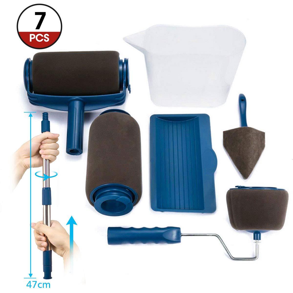 Paint Roller Brush Kit ARTISTORE Paint Runner Pro Brush with 2 Paint Runner Pro(1 Replacement), Telescopic Poles, Handle Flocked Edger Room Wall Printing for Home Office(7 Pcs) …