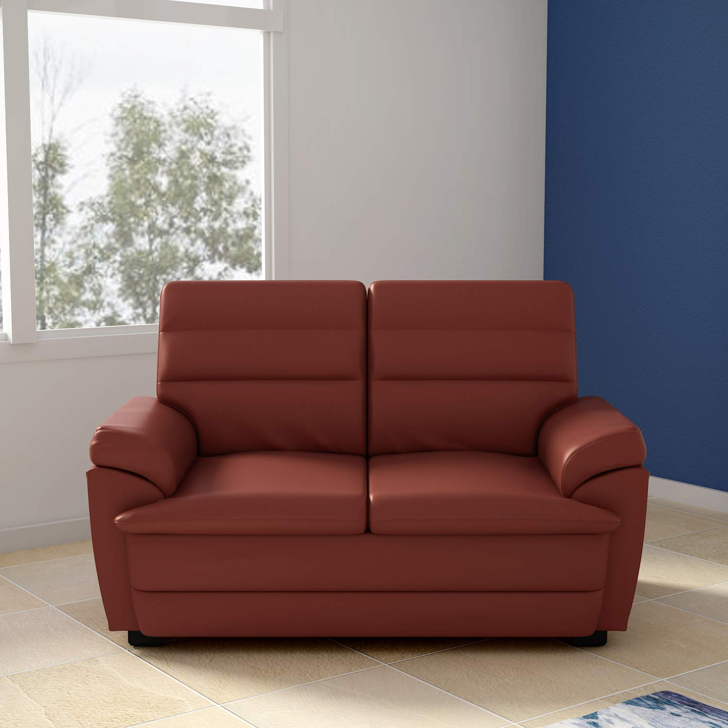 Godrej Interio Spectra Two Seater Sofa (Brown, Glossy Finish