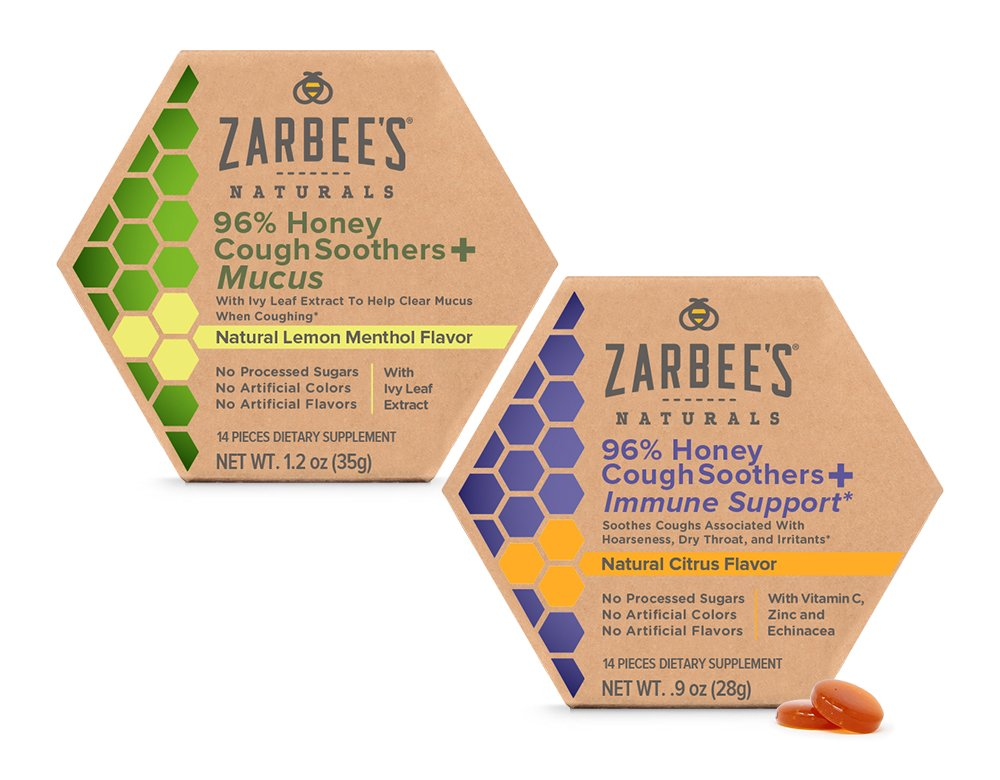 Zarbee's Naturals 96% Honey Cough Soother + Immune Support* and 96% Honey Cough Soother + Mucus 28 Count (Pack of 2) Simply Made with Honey and Natural Flavors