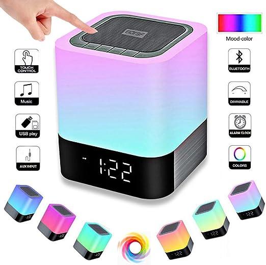 NEW Night Lights Bluetooth Speaker MP3 FM Wireless Stereo Speaker Alarm Clock