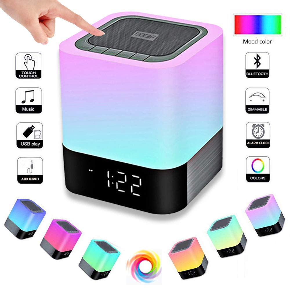 EIATBF LED Bluetooth Speaker,Night Light Dimmable Wireless Speaker,Portable Wireless Bluetooth Speaker,48 LED Changing Color,Touch Control Bedside Lamp,Alarm Clock,MP3 Player,Best Electronic Gift. by EIATBF