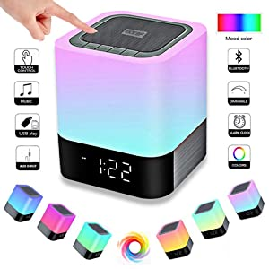 EIATBF LED Bluetooth Speaker,Night Light Dimmable Wireless Speaker,Portable Wireless Bluetooth Speaker,48 LED Changing Color,Touch Control Bedside Lamp,Alarm Clock,MP3 Player,Best Electronic Gift.