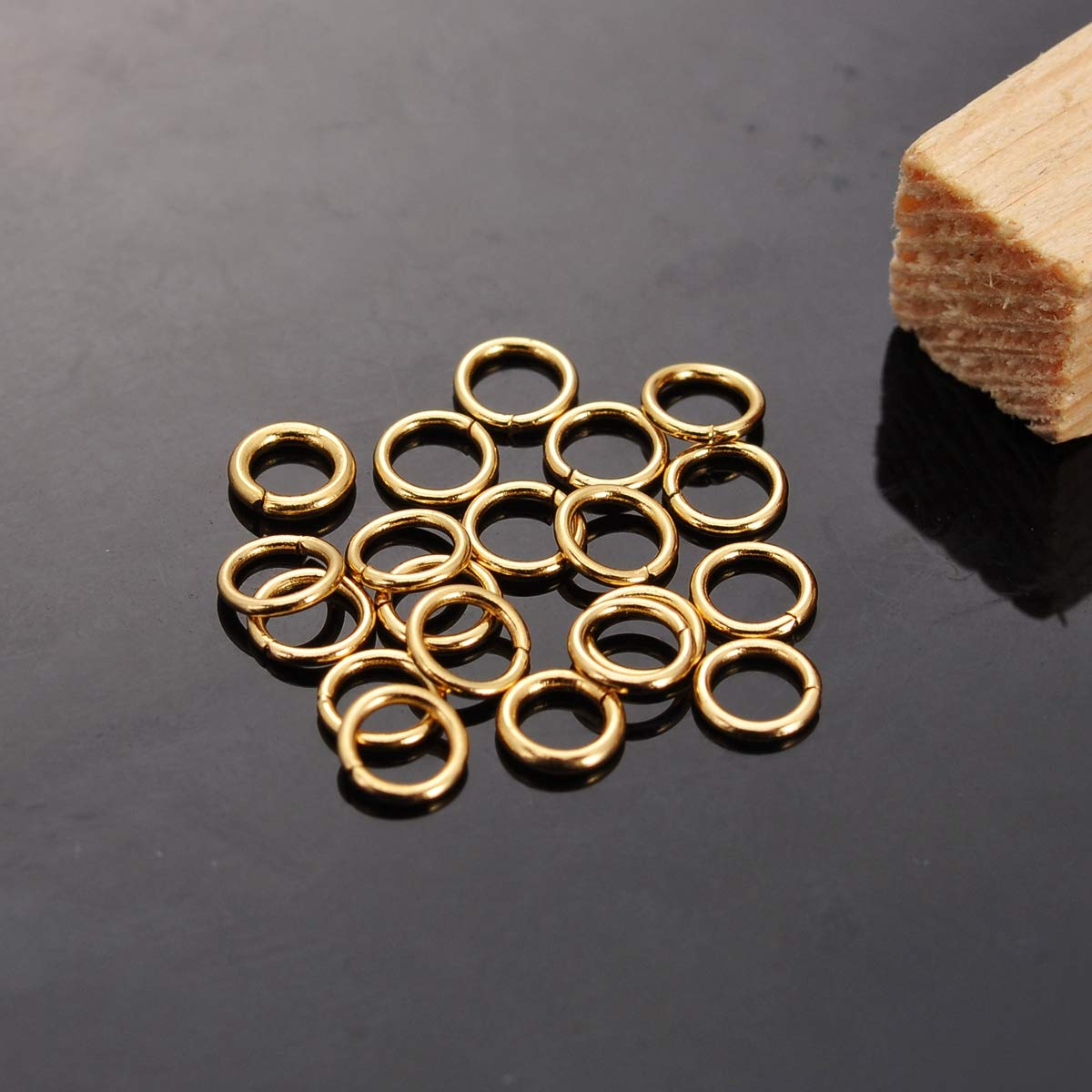 YC-Arts Lot de 20 anneaux ronds en acier inoxydable plaqu/é or Acier inoxydable plaqu/é or 4mmx0.7mm