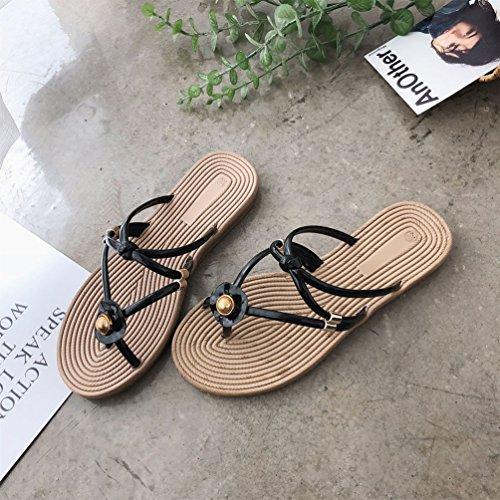 Sangle Perlées Claquettes Tongs Toe Chaussures Femmes Noir Jitian Mode Open Sandales Plage Mules Plates PdZx0q8w