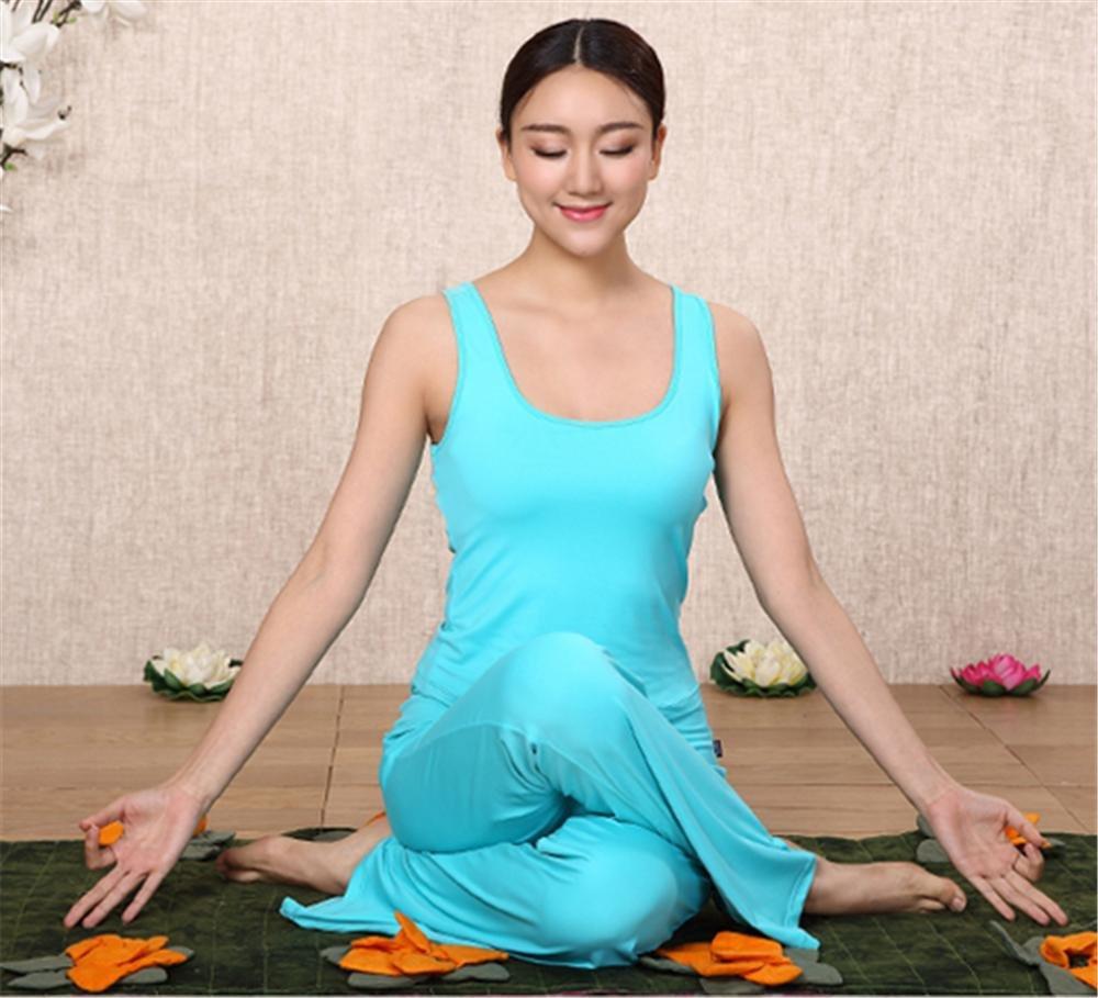 Peiwen Frau Yoga Kleidung Bequeme Feste Farbe Hose und Weste