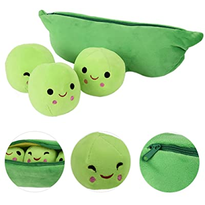 1pc Peas-in-a-Pod Toys Plush Bean Toy Stuffed Plant Pillow Doll Toys Super Soft Doll Pillow Novelty Design Children Gift(15.7 Inch): Toys & Games