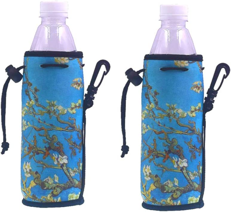 Living 500ML (16.9 OZ) Collapsible Printed Neoprene Water Bottle Drawstring