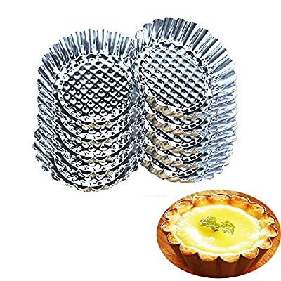Guestway Staniless Steel Egg Tart Mold Baking Cups Reusable Round Bakeware for Cookie Egg Tart Pie Jello Pudding Quiches Dessert Baking Silver
