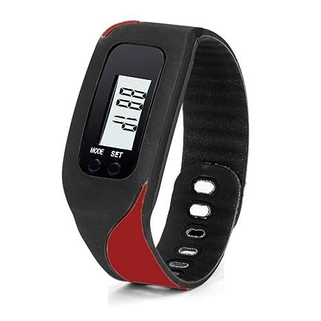 Reloj de pulsera con pantalla digital LDC Hunpta, podómetro, contador de distancia y calorías., rojo: Amazon.es: Deportes y aire libre