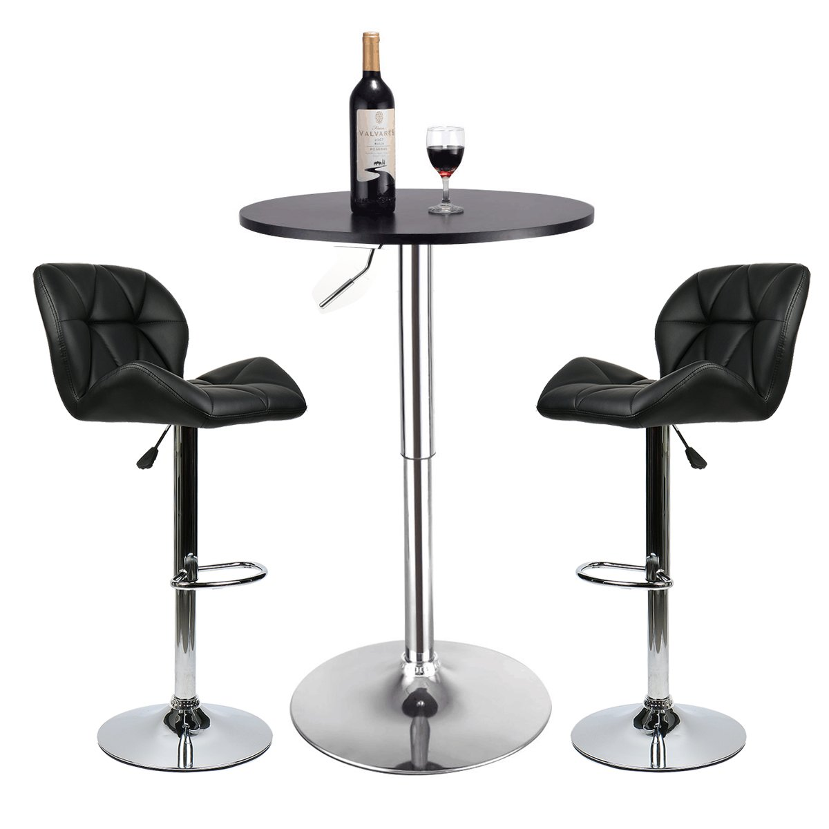 Bar Table Set of 3 – Adjustable Round Table and 2 Swivel Pub Stools for Home Kitchen Bistro, Bars Wine Cabinets (Set 4)